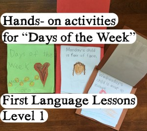 Days of the Week Activity – Hand-on First Language Lessons
