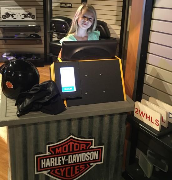 cute harley davidson cashier