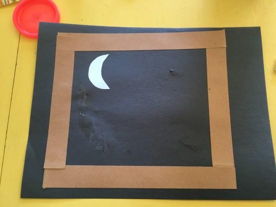 windowsill and moon glued on