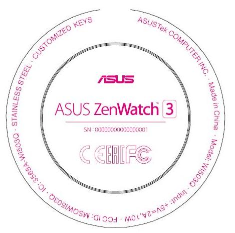 Asus Zenwatch tres FCC