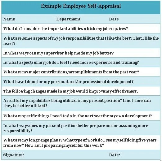 Sample Employee Evaluation Questions - Template Examples - employee self evaluation form
