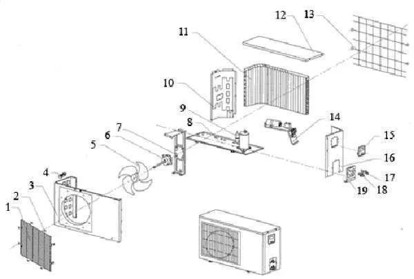 split ac outdoor unit diagram