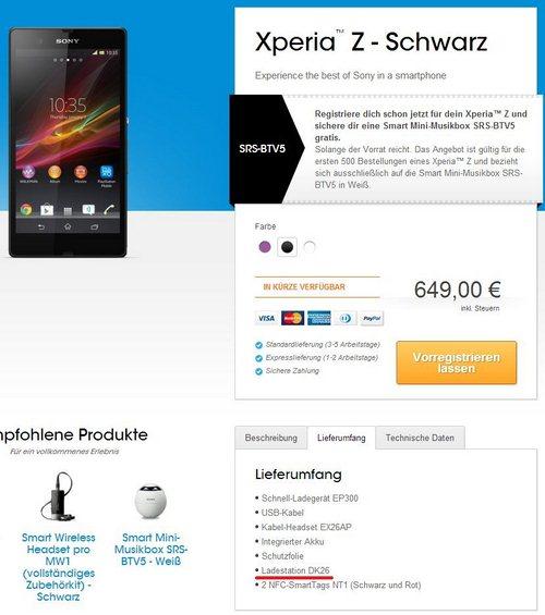 Xperia Z Dock Lieferumfang Screenshot
