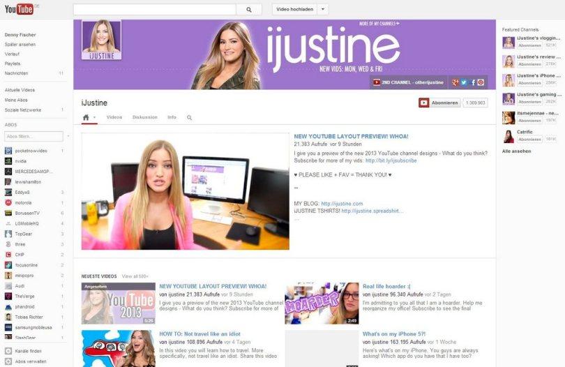 YouTube Kanal Redesign Februar 2013 Screenshot