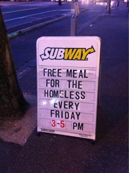 Free Subway meals