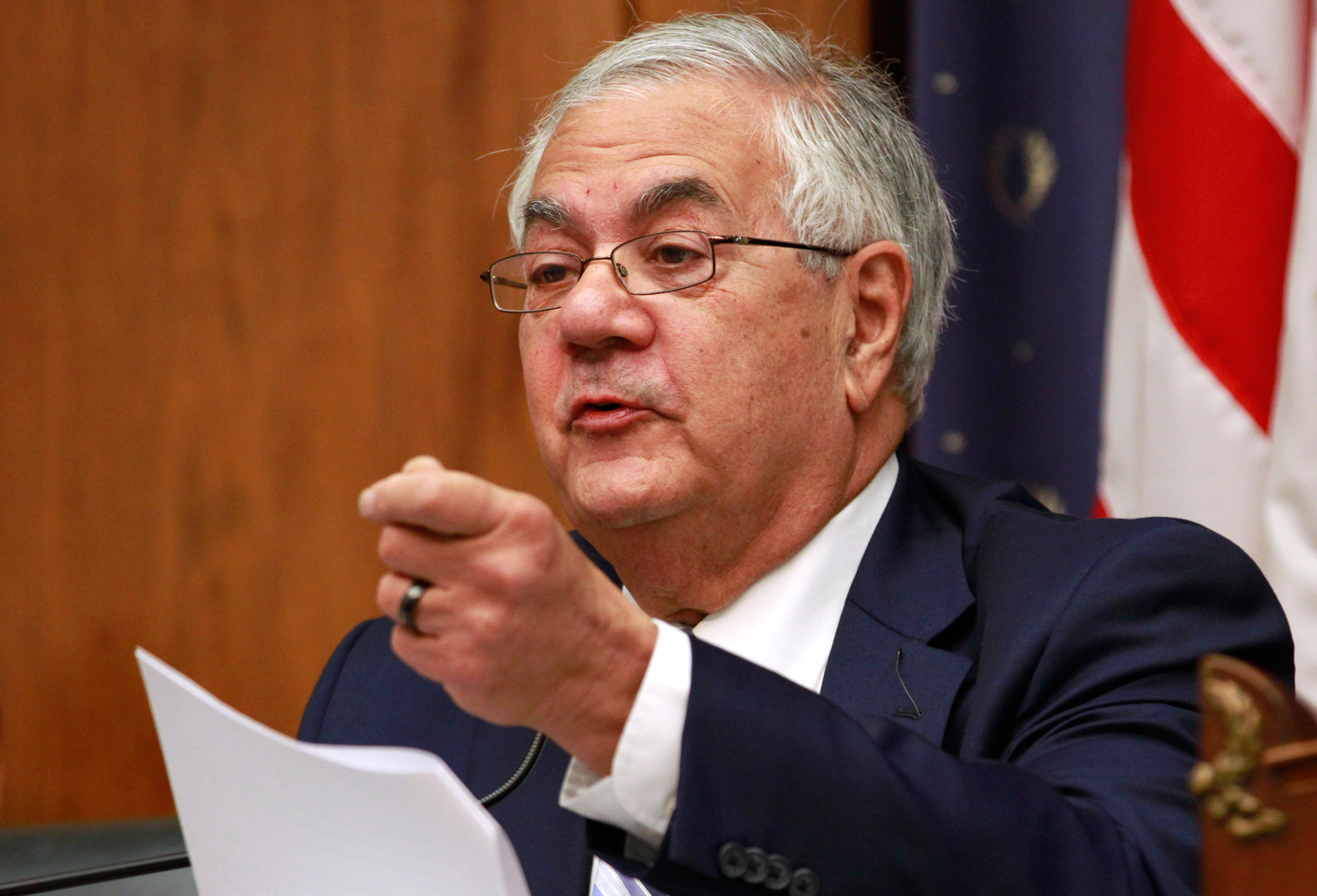Rep. Barney Frank, D-Mass., asks a question of the first panel testifying before the House Financial Services Committee on Capitol Hill in Washington, on Tuesday, June 19, 2012.