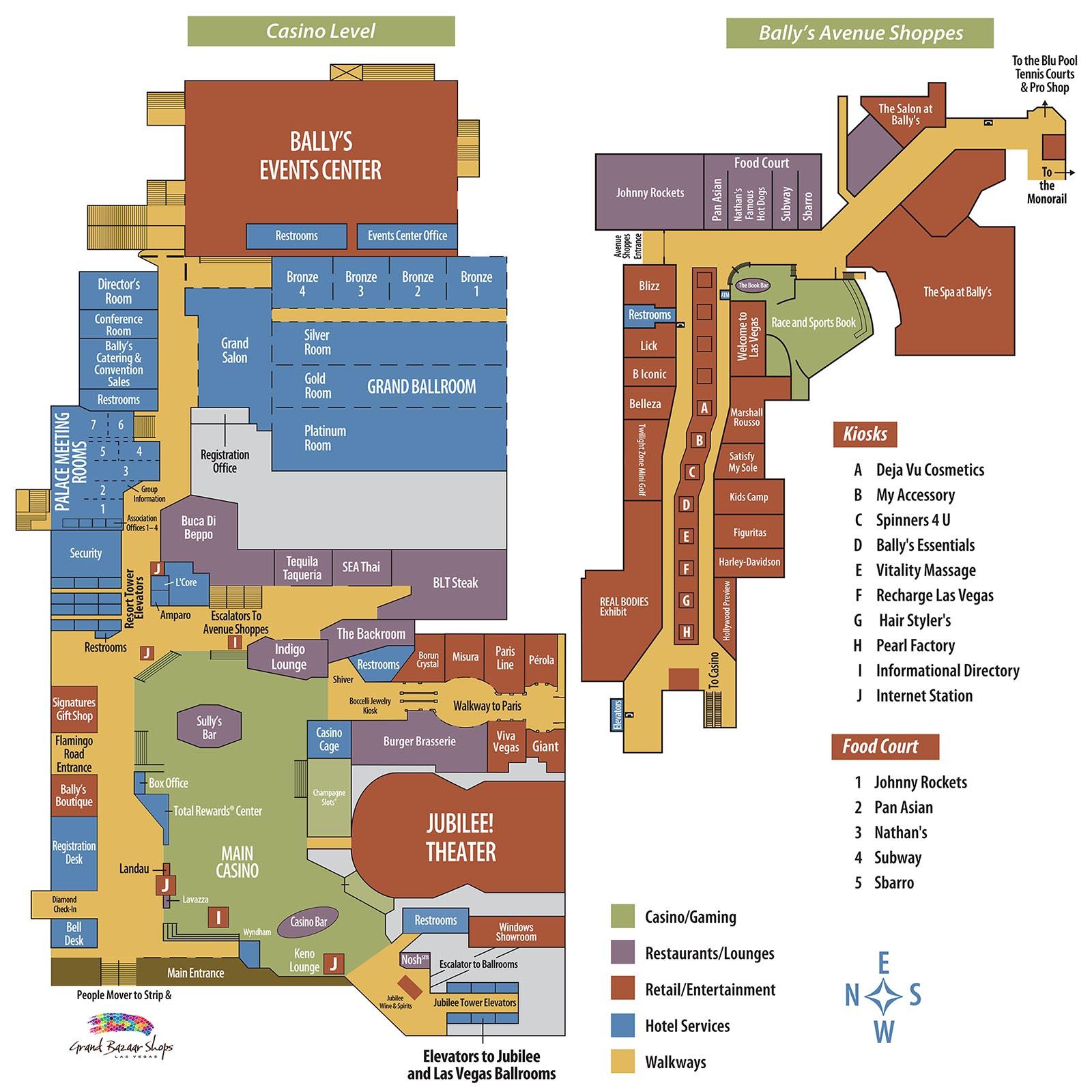 Bally39s Casino Property Map Floor Plans Las Vegas