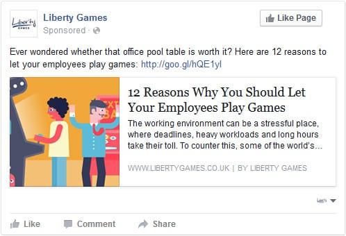 Liberty Games social content ad