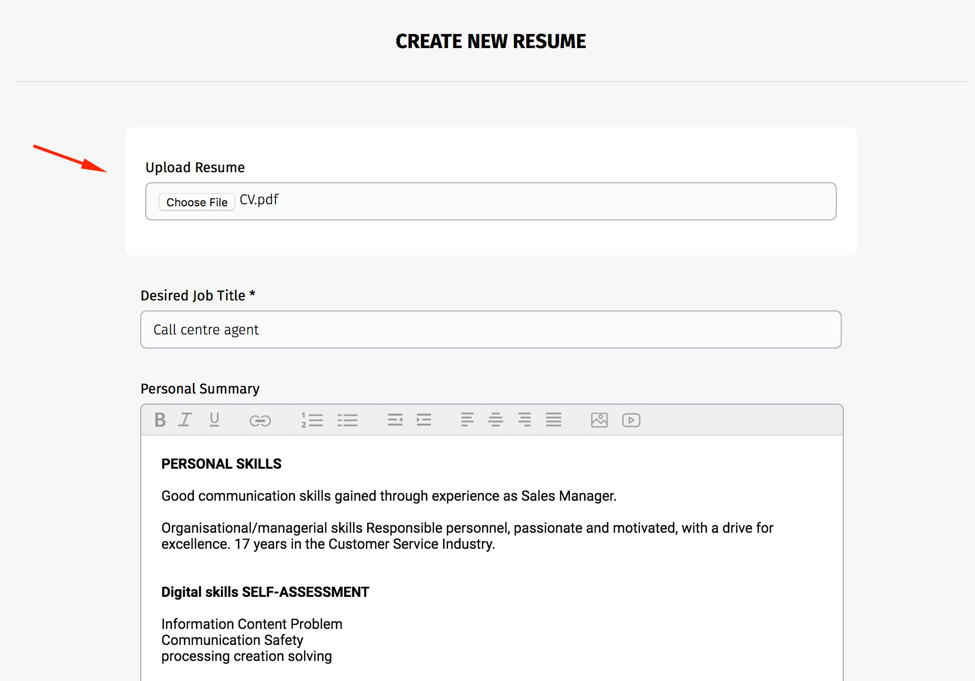 upload resume to update