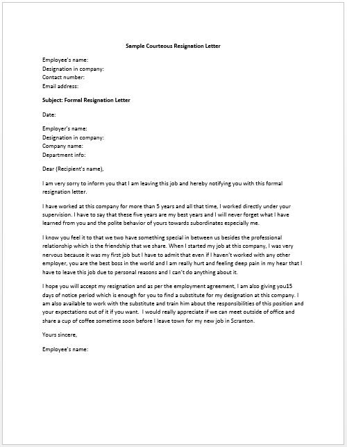 resume genius sample resignation letter