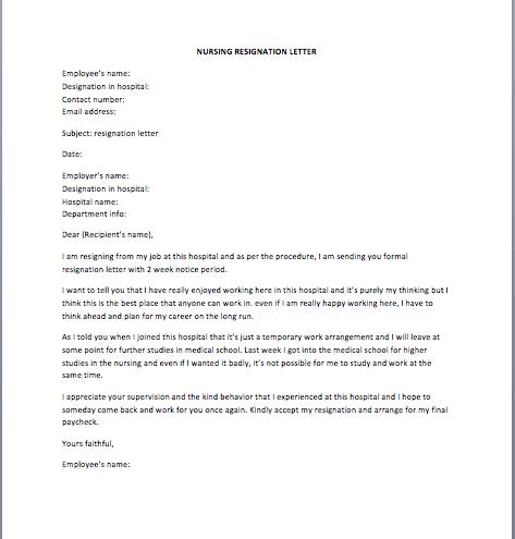 Sample Resignation Letter For Nurses Free Resume Samples