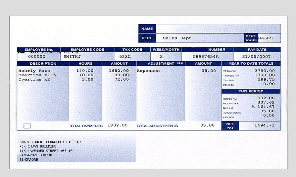 Smart Touch - Payslip - Payroll Singapore / Malaysia