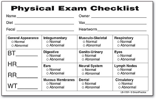 House Plans Physical Exam Checklist