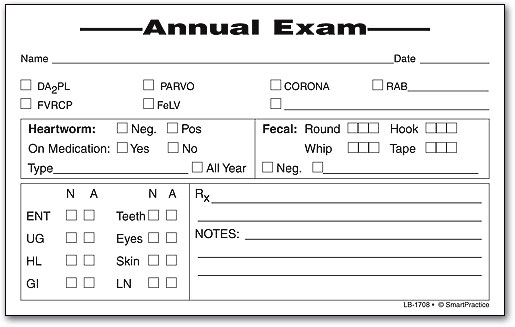 Exam Labels SmartPractice Veterinary - physical exam form