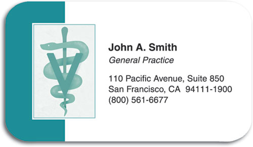 Teal Vet Symbol ReStixtrade; Sticker Business Card SmartPractice
