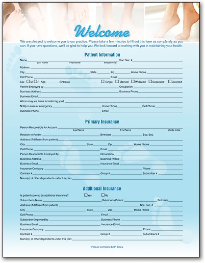 Podiatry Square Patient History Form SmartPractice Medical - medical history forms
