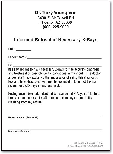 Refusal of Necessary X-Rays SmartPractice Dental - dental consent form