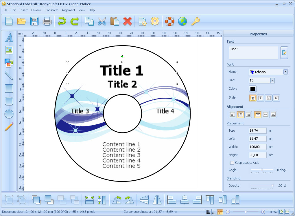 CD DVD Label Maker ScreenShots, CD label and DVD cover template software
