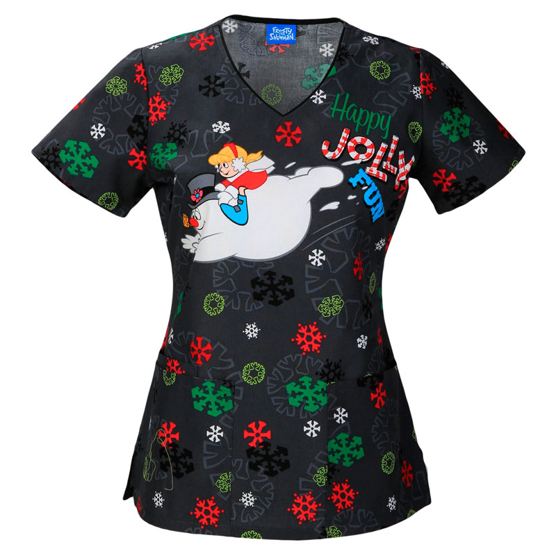 Style #71641JFF, Tooniforms Ladies V-Neck Top - Jolly Frosty Fun