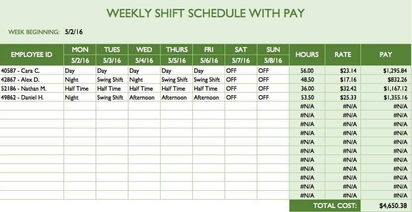 bi weekly employee schedule template