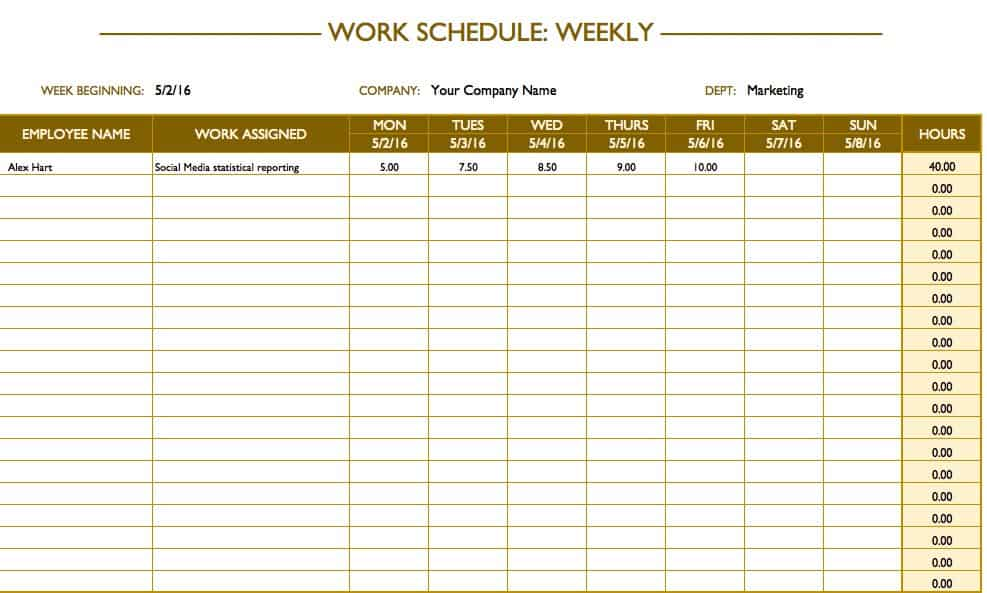 Free Work Schedule Templates for Word and Excel - work hour sheet
