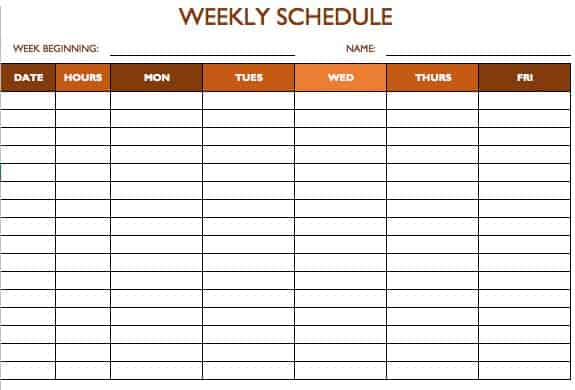 Free Work Schedule Templates for Word and Excel - monday to sunday schedule template