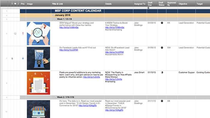 Smartsheet - calendar template for website