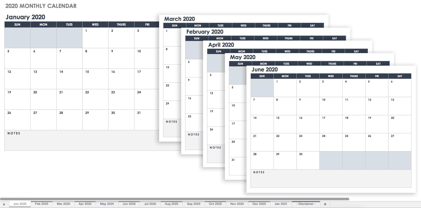 downloadable calendar template 2019