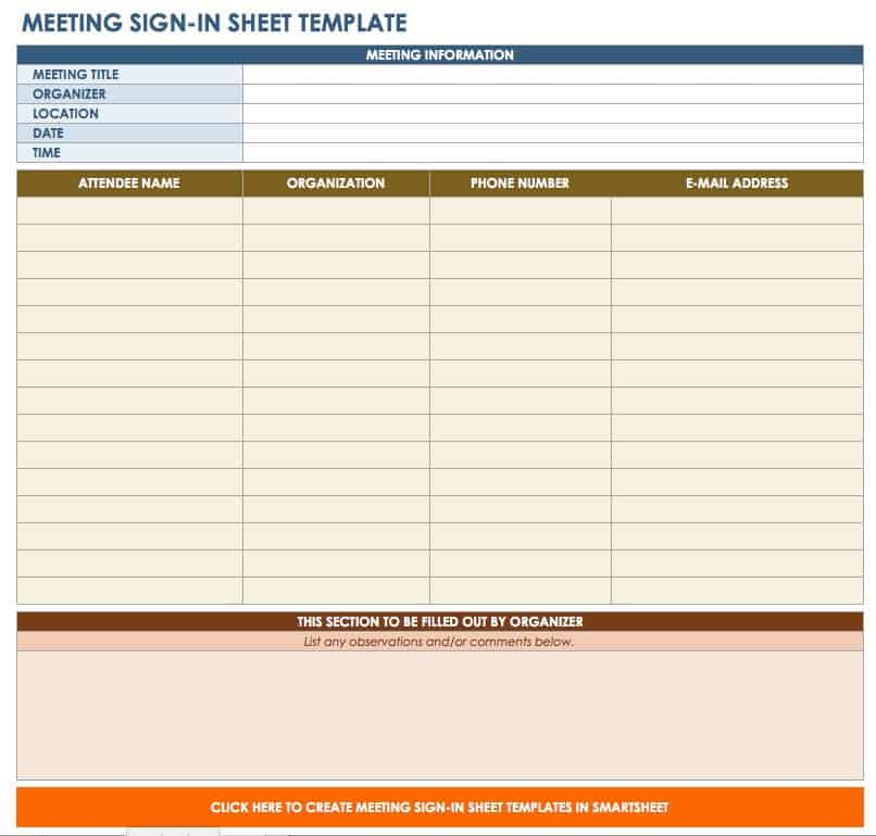 Free Sign-in and Sign-up Sheet Templates Smartsheet