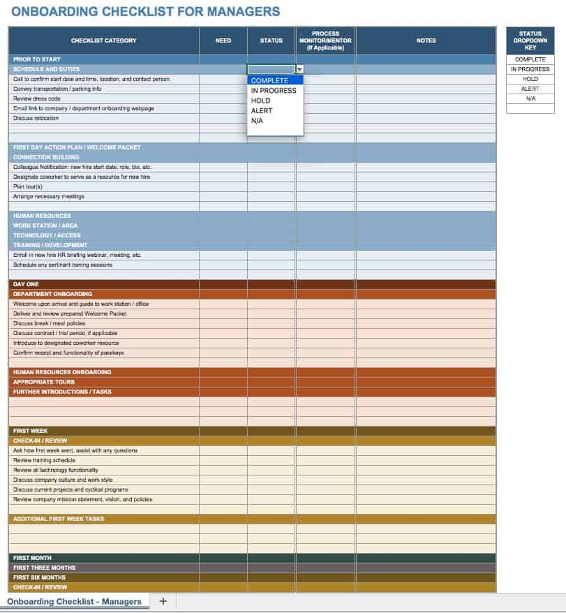 Free Onboarding Checklists and Templates Smartsheet - sample training checklist template