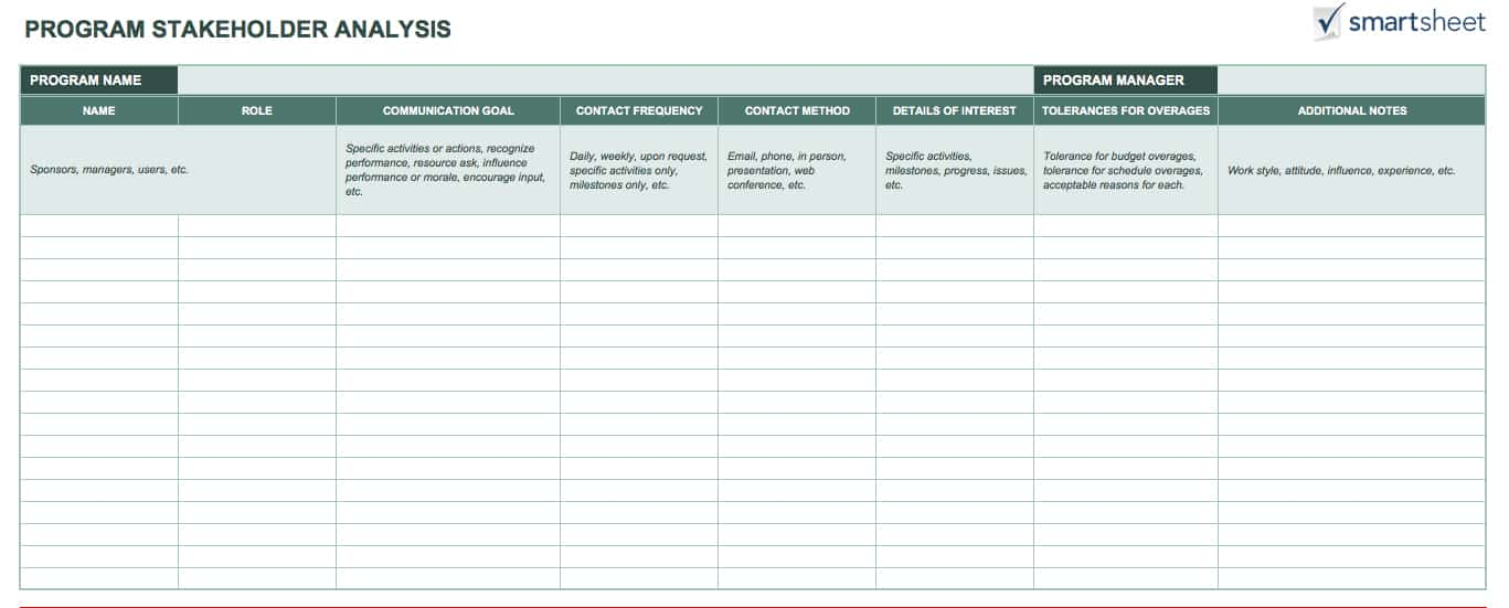 Free Stakeholder Analysis Templates Smartsheet - project stakeholder analysis template