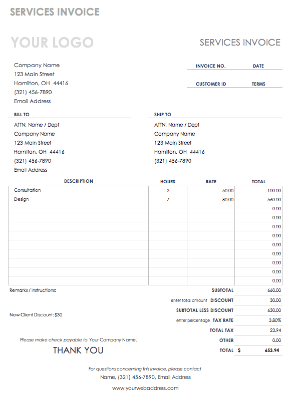 purchasing invoice template