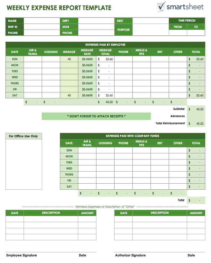Free Expense Report Templates Smartsheet - expense sheet template
