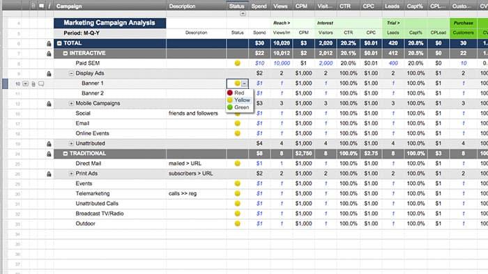 Smartsheet - sample marketing schedule