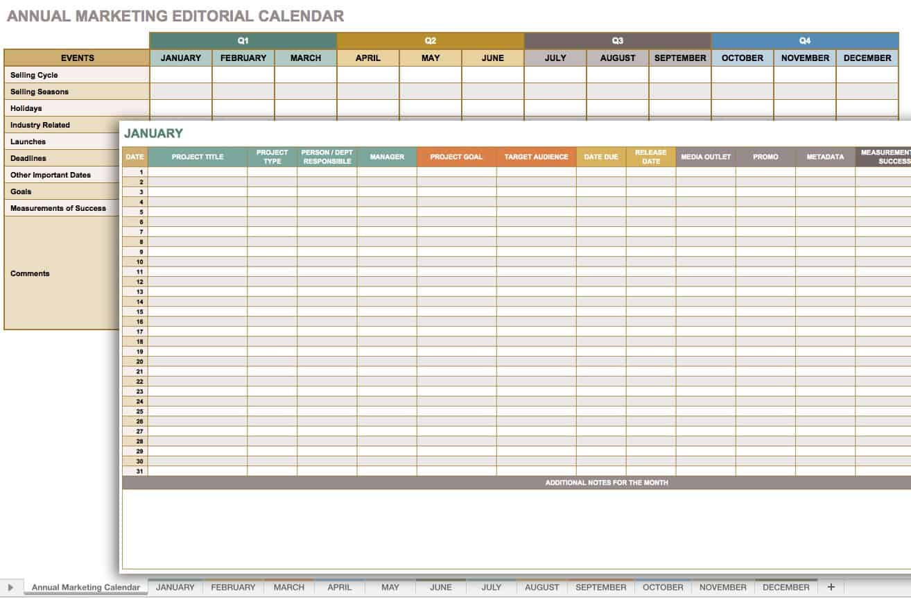project planning calendar template excel