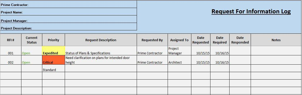 Free Construction Project Management Templates in Excel - change log template