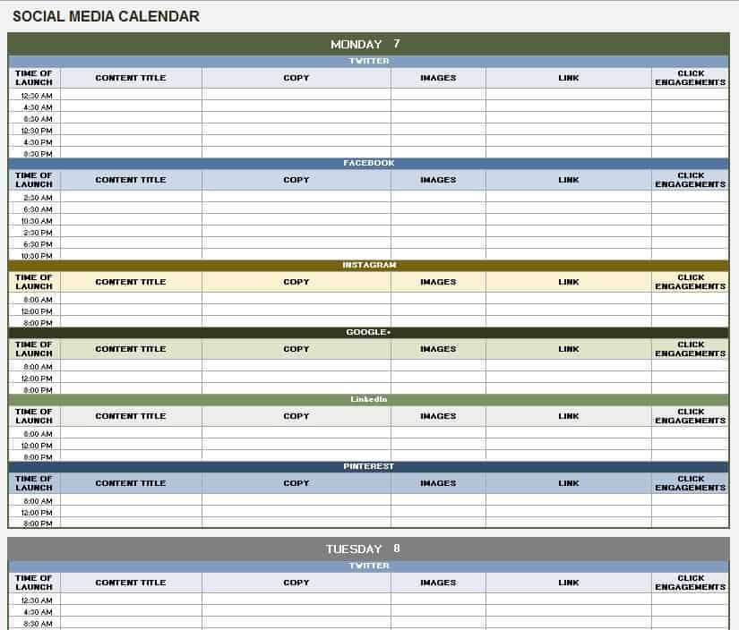 12 Free Social Media Templates - Smartsheet - social media schedule template