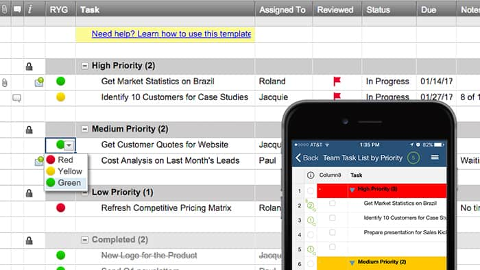 Team Task List by Priority Template Smartsheet