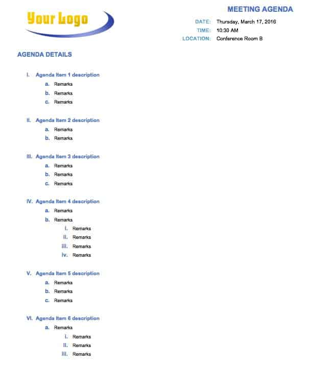 Free Meeting Agenda Templates - Smartsheet - Meeting Outline Sample