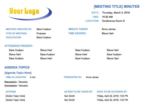 Free Meeting Minutes Template for Microsoft Word - simple agenda samples