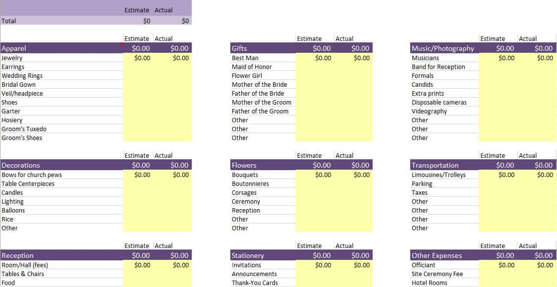 Free Budget Templates in Excel for Any Use - wedding budget estimates