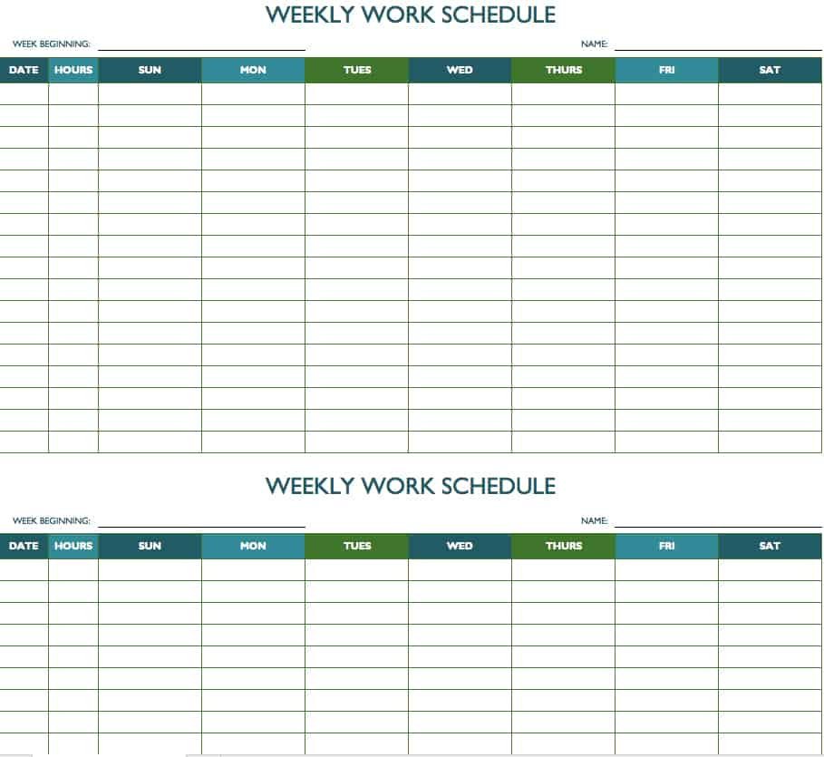 Free Weekly Schedule Templates For Excel - Smartsheet - Printable Bi Weekly Calendar