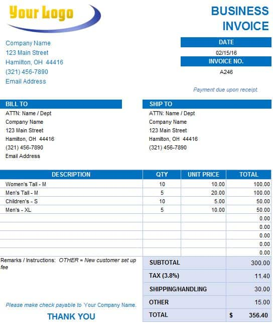 Free Excel Invoice Templates - Smartsheet - Billing Receipt Template