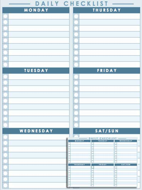Free Daily Schedule Templates for Excel - Smartsheet - daily checklist template word