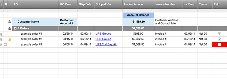 Customer Order Tracking  History Template - purchase order tracking spreadsheet