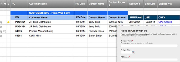 Place an Order Form Template Smartsheet