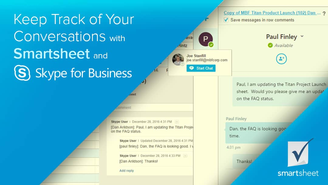 Keep Track of Your Conversations with Smartsheet and Skype for