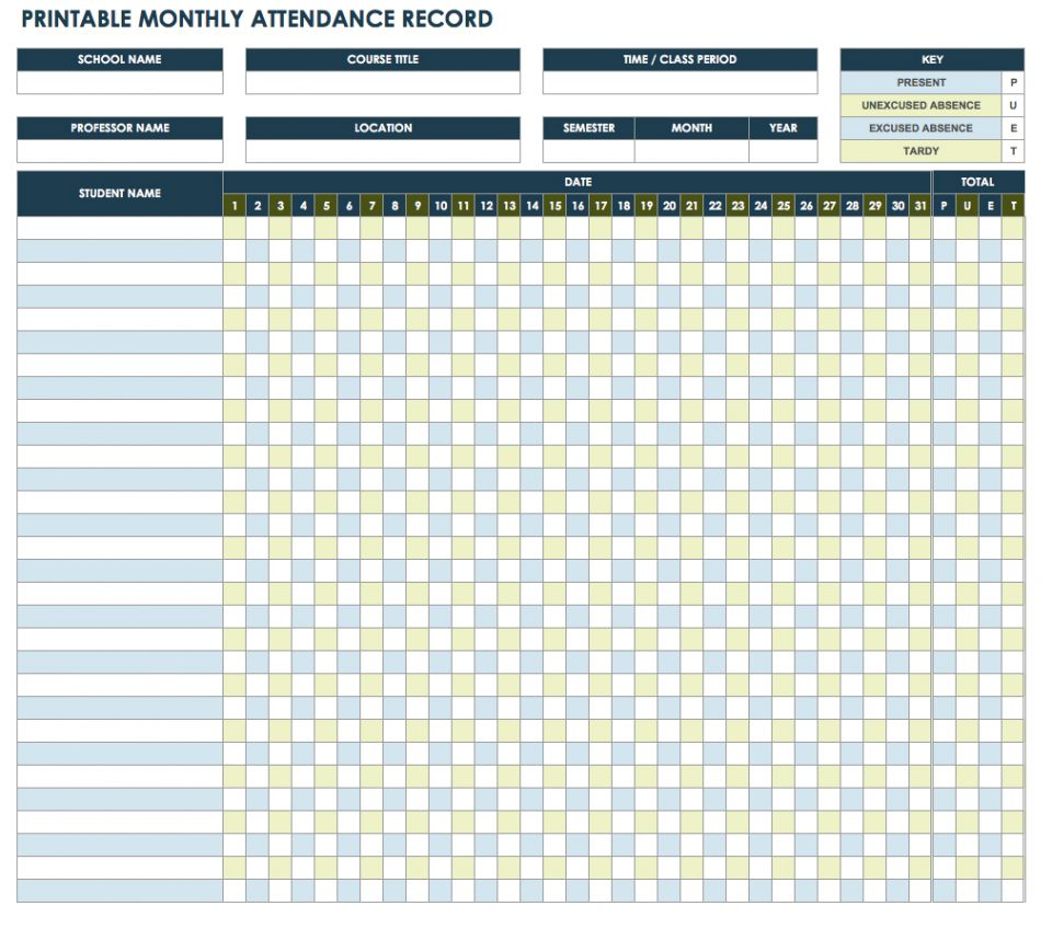 yearly attendance record template