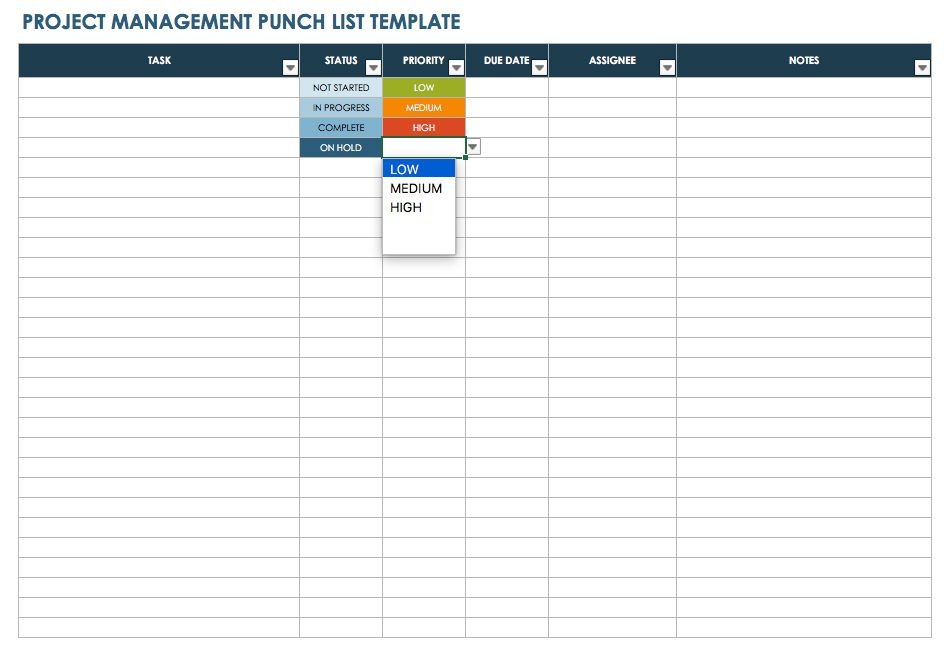 construction punch list template