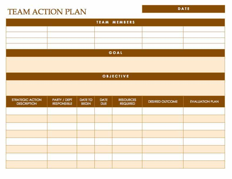 Free Action Plan Templates - Smartsheet - Action Plan Example
